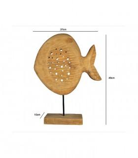 Dimensiones Figura Escultura Pez Madera Alto