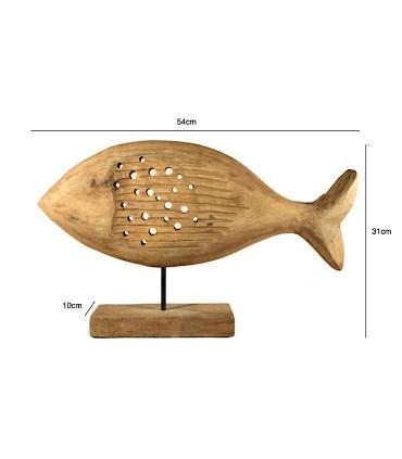 Medidas Figura Escultura Pez Madera Baja