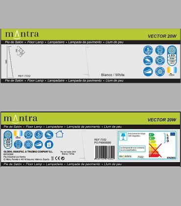 Características Lámpara pie Vector Blanco 7332 Mantra