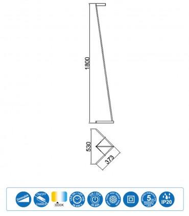 Dimensiones Lámpara pie Vector Oro 7335 Mantra