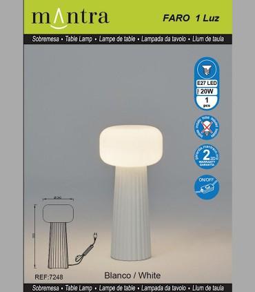 Características Sobremesa Faro Blanco 1 Luz E27 7248 Mantra