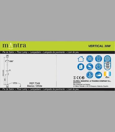 Características Lámpara pie Vertical Blanco Led 7349 Mantra
