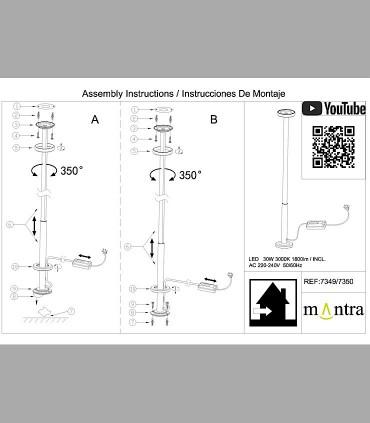 Instrucciones de montaje Lámpara pie Vertical Blanco Led 7349 Mantra