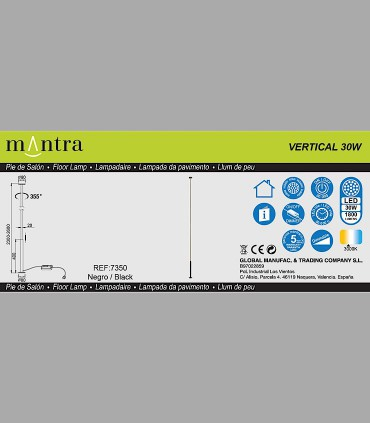 Características Lámpara pie Vertical Negro Led 7350 Mantra