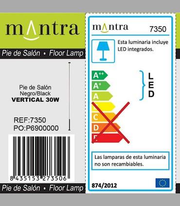 Detalles técnicos Lámpara pie Vertical Negro Led 7350 Mantra