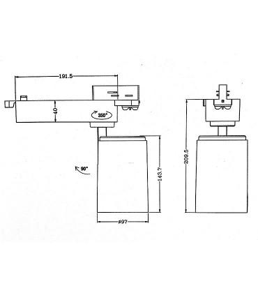 Dimensiones Foco de carril LC004 Uso Intensivo 33W YLD