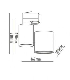 Dimensiones Foco de carril Trifásico 20W PRO CRI97 YLD para iluminación técnica