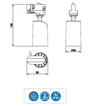 Dimensiones Foco de carril SAL para Bombilla GU10 Trifásico Blanco-Negro Mantra