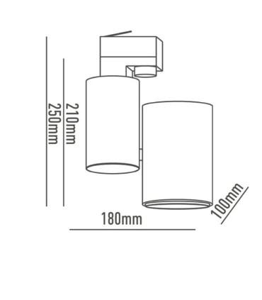 Dimensiones Foco de carril Trifásico 35W PRO CRI97 YLD
