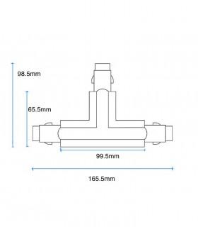 Dimensiones Conector T Carril Trifásico YLD Blanco-Negro