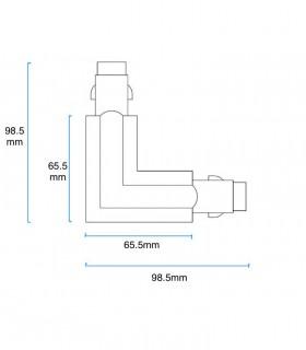 Dimensiones Conector L Carril Trifásico YLD Blanco-Negro