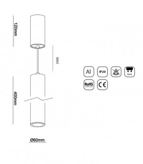 Dimensiones Colgante 1 Luz para GU10 40cm Blanco-Negro YLD
