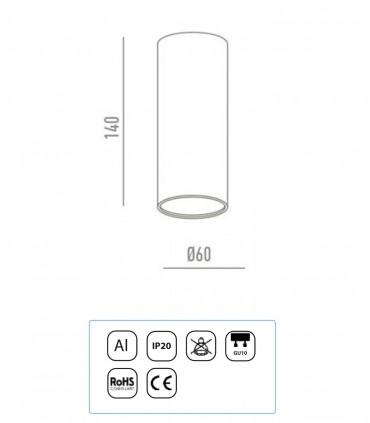 Características Plafón Tubo 1 Luz para GU10 14cm Blanco-Negro-Cromo YLD