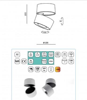Características Foco superficie orientable 360º R Led 10W Blanco-Cromo YLD LC1298