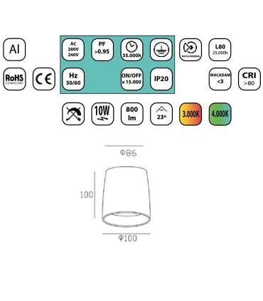 Características Foco superficie Fijo Led 10W Redondo Cromo blanco YLD LC1312