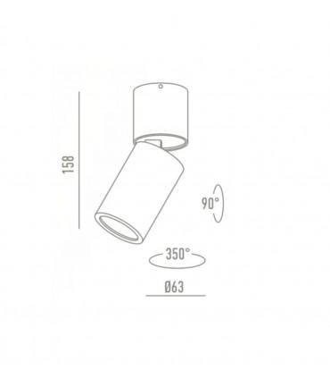 Dimensiones Foco Superficie Articulado Bombilla GU10 Redondo YLD NC1800